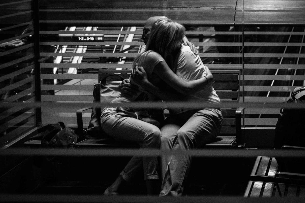 Storytelling in Photography - Train Station Hug