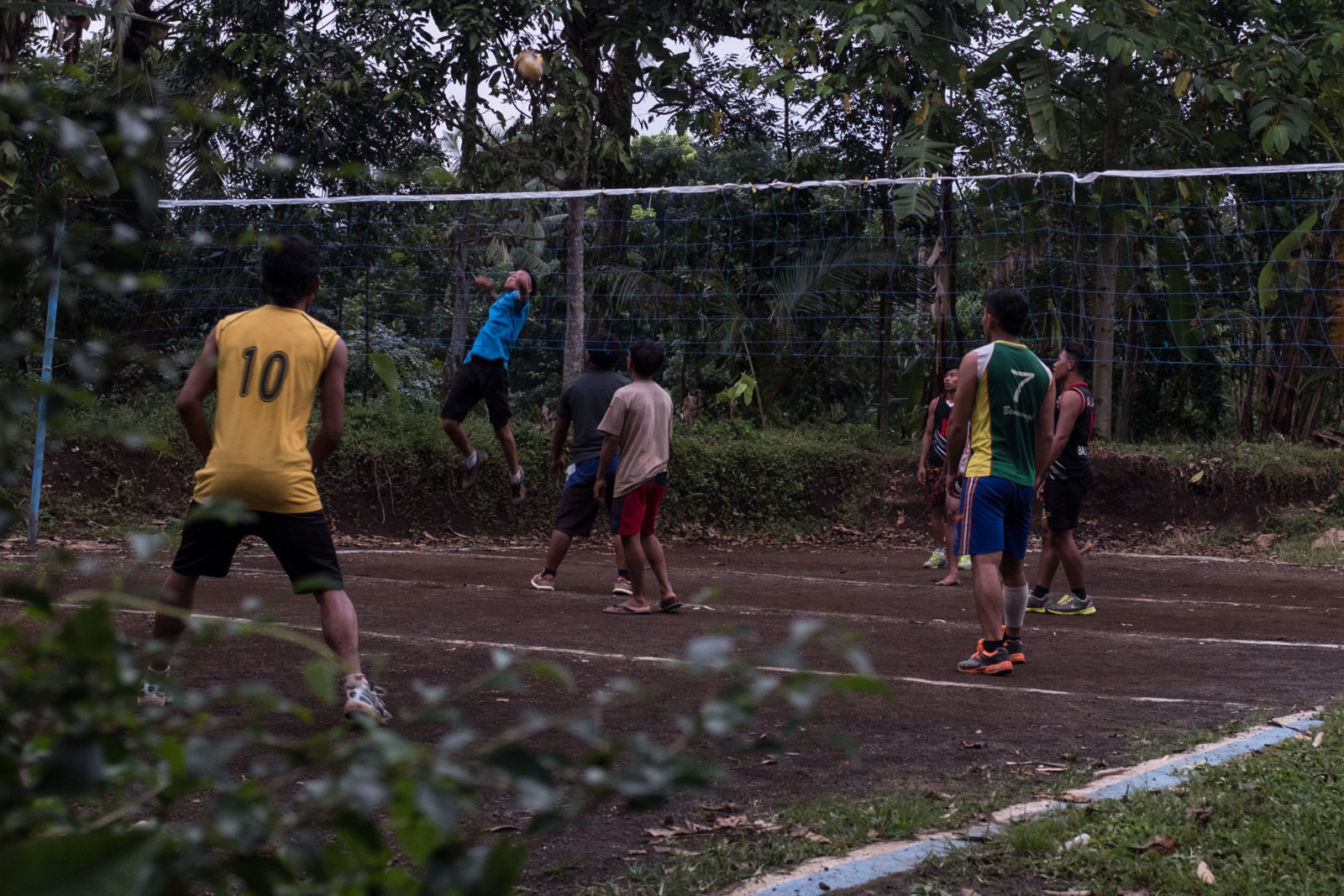 Playing Volleyball with the Homestay Family